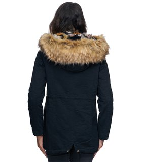 Damen Winterjacke Gefüttert Kapuze mit Kunstfellkragen D-226