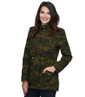 Damen Winter Jacke camouflage mit Teddyfell-Futter D-243