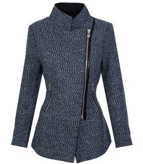 Damen winter mantel jacke melierter woll parka wollmantel D-253