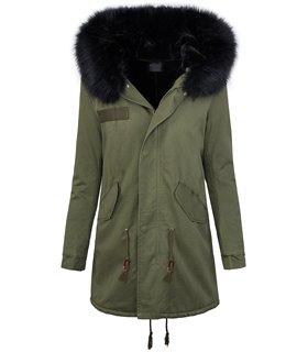 Damen winter mantel parka Kunstfellkragen Kapuze D-259