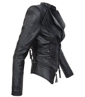 Damen Kunstleder Jacke Biker-Style D-305