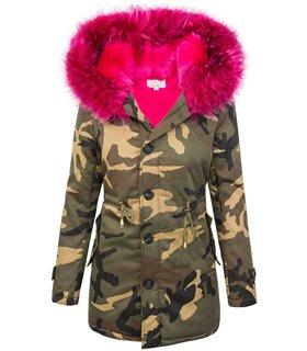 Damen Jacke Camouflage Parka gefüttert Winterjacke Army-Look Kapuze