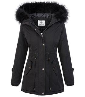 Damen Jacke Winterjacke Parka Kunstfell Kapuze gefüttert Mantel Damenjacke