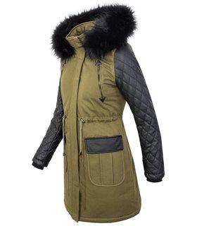 Damen Designer Jacke Winterjacke Parka Kunstleder-Ärmel Damenjacke Mantel D-348