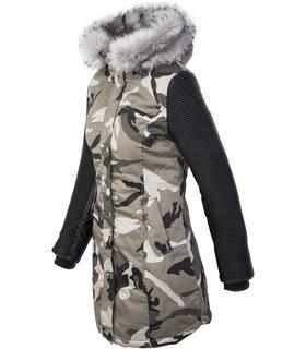 Damen Camouflage Jacke Winterjacke Parka Kunstlederärmel Bikerjacke D-349