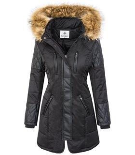 Damen Outdoor Jacke Winterjacke Kunstfell Kragen Kapuze warm