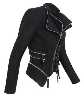 Damen Biker Jacke Sommer Übergangs Stoff Jacket