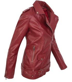 Designer Damen Kunstleder Jacke Übergangsjacke Lederoptik Mantel