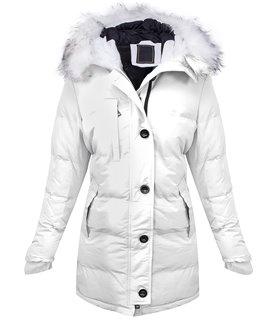 Damen Winter Steppjacke Mantel gefüttert mit Kunstfellkragen D-407