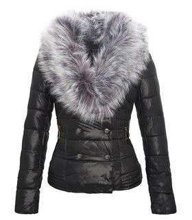 Damen Winter Jacke Kurze Steppjacke mit abnehmbarem Kunstpelzkragen