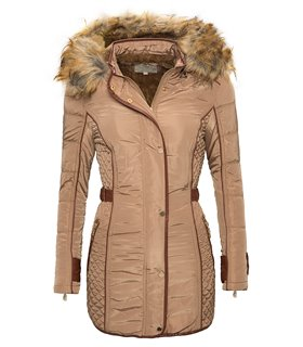 Damen Mantel Winter Jacke Kapuze mit Kunstpelz warm Parka Outdoor