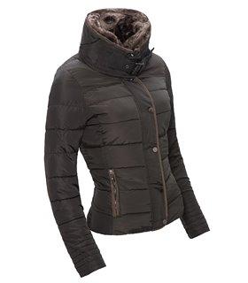 Damen Steppjacke gesteppte Jacke Winter Stehkragen warm Schwarz fellkragen