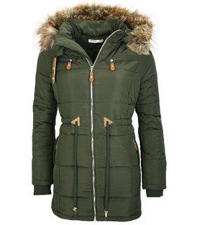 Damen Winterjacke mit Kapuze Kunstfellkragen EK-2699