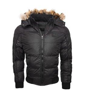 Herren Winter Jacke Gefütterte Vintage Jacke Steppjacke mit Echtfell Kapuze