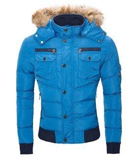 Designer Herren Winter Stepp Jacke Winterjacke Kapuze mit Echtfell warm