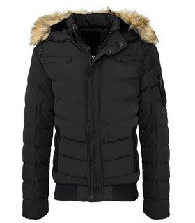 Herren winterjacke steppjacke outdoor jacke kapuze fellkragen H-132