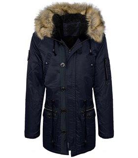 Herren Winter Mantel mit Kapuze Kunstfellkragen H-136