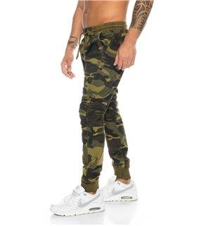 Herren Cargo Hose Armyhose Camouflage Jogghose Gummizug