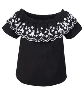 Designer Damen Bluse Top Tunika Blumenstickerei Carmen-Ausschnitt Shirt