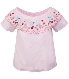 Designer Damen Bluse Top Tunika Blumenstickerei D-321