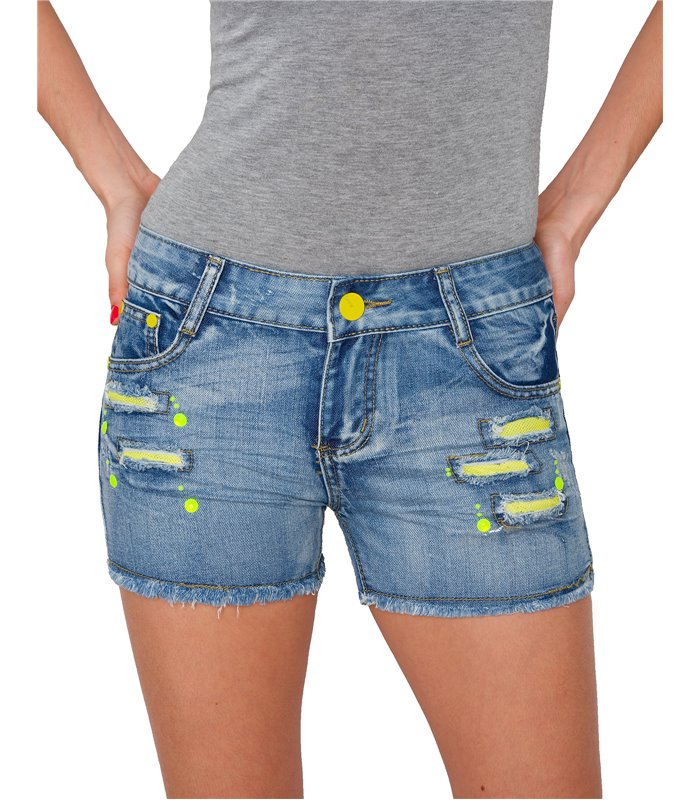 Damen Hochbund Riss Jeans Kurze Hose Hüftjeans Shorts Hotpants Denim Jeansshorts