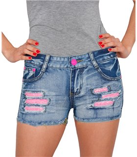 Damen Jeans Shorts Hot Pants Denim Destroyed-Look D-183