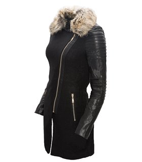 Damen Mantel mit Kunstleder Ärmel Fellkragen Damenjacke Schwarz Winter