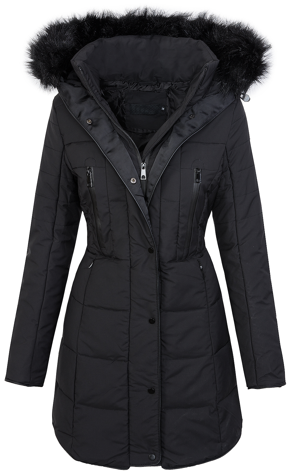 damen winter jacke steppmantel parka langer mantel fell kragen kapuze d 209 s xl ebay. Black Bedroom Furniture Sets. Home Design Ideas