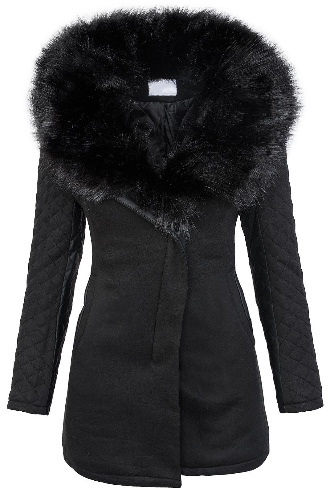 reputable site 3426f b965a Details zu Damen designer winter jacke schwarzer fellkragen jacke mantel  wintermantel D-234