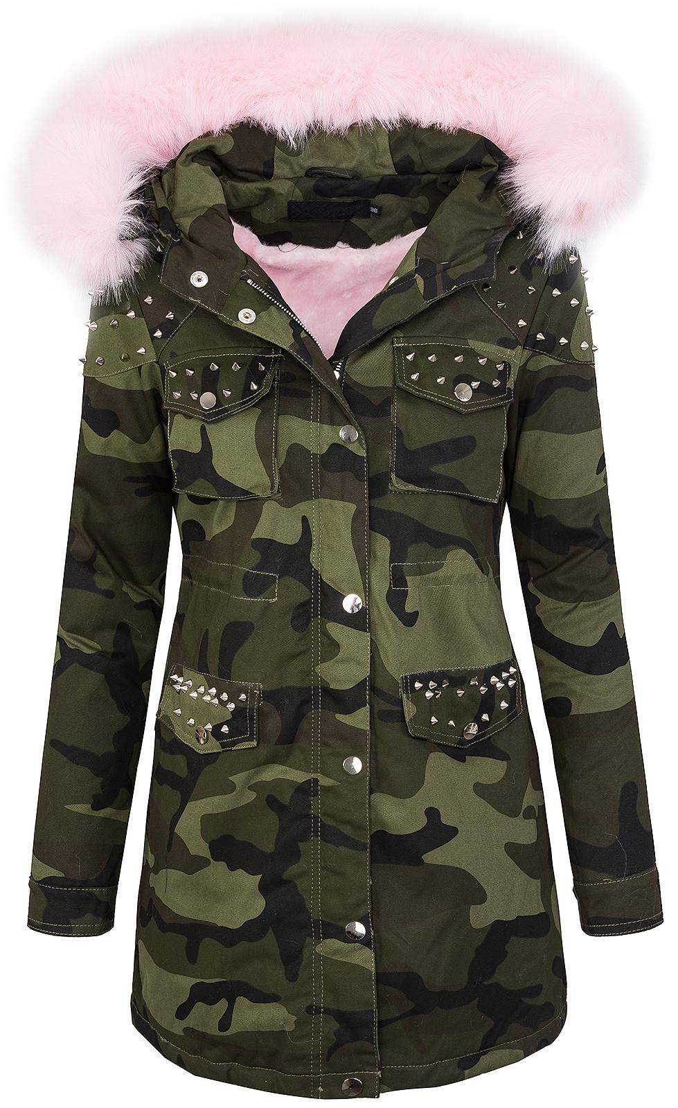 Details zu Damen winter parka jacke army look damenjacke kunstfell kapuze mit nieten D 231