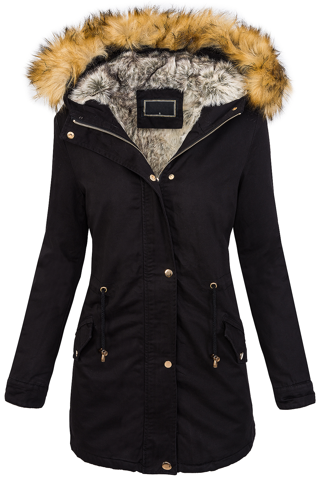 winter parka ladies jacket coat womens jacket hood faux fur warm d 208 ebay. Black Bedroom Furniture Sets. Home Design Ideas