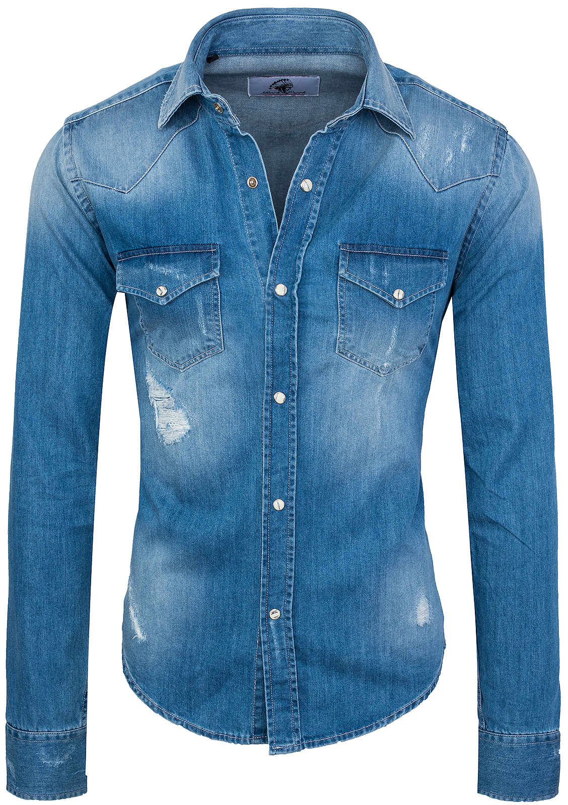 Rock Creek Herren Jeanshemd Denim Blau Herrenhemd Regular