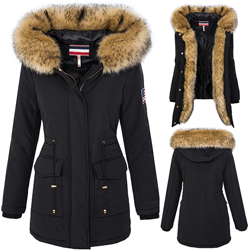 outdoor damen parka winterjacke damen jacke warm xxl kunstfellkragen s l d 247 ebay. Black Bedroom Furniture Sets. Home Design Ideas