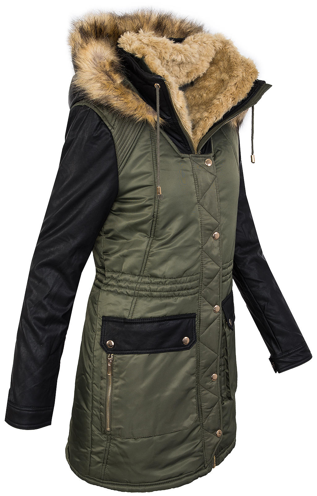damen winter jacke teddyfell futter parka kunstleder rmel winterjacke d 257 neu ebay. Black Bedroom Furniture Sets. Home Design Ideas