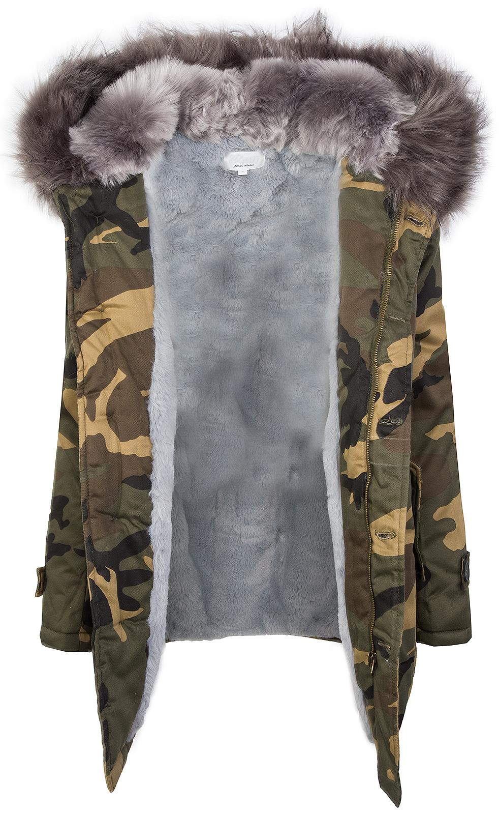 damen jacke camouflage parka gef ttert winterjacke army. Black Bedroom Furniture Sets. Home Design Ideas
